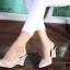 รองเท้าส้นเตารีดหัวแหลม หนังนิ่ม (สีเทา ) thumbnail 5